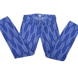 Blue Ikat Medium Wash Twill Skinny Jeans